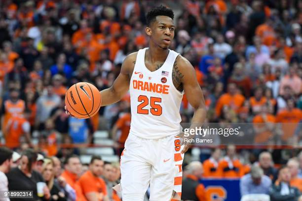 Tyus Battle of the Syracuse Orange controls the ball against the North Carolina State Wolfpack during the first half at the Carrier Dome on February...