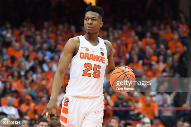 Tyus Battle of the Syracuse Orange controls the ball against the North Carolina Tar Heels during the second half at the Carrier Dome on February 21...