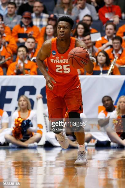 Tyus Battle of the Syracuse Orange dribbles the ball during the game against the Arizona State Sun Devils at UD Arena on March 14 2018 in Dayton Ohio...