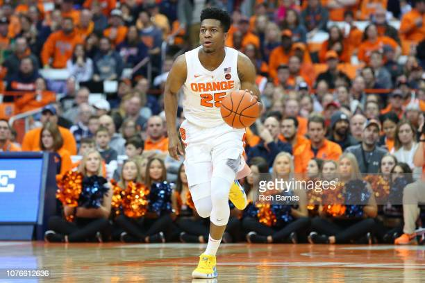 Tyus Battle of the Syracuse Orange dribbles up the court against the Cornell Big Red during the second half at the Carrier Dome on December 1 2018 in...