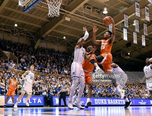 Tyus Battle of the Syracuse Orange drives against the Duke Blue Devils during their game at Cameron Indoor Stadium on January 14 2019 in Durham North...