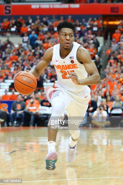 Tyus Battle of the Syracuse Orange drives to the basket against the Pittsburgh Panthers during the first half at the Carrier Dome on January 19 2019...