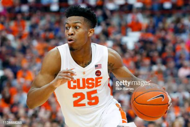 Tyus Battle of the Syracuse Orange drives to the basket against the Boston College Eagles during the second half at the Carrier Dome on February 9...