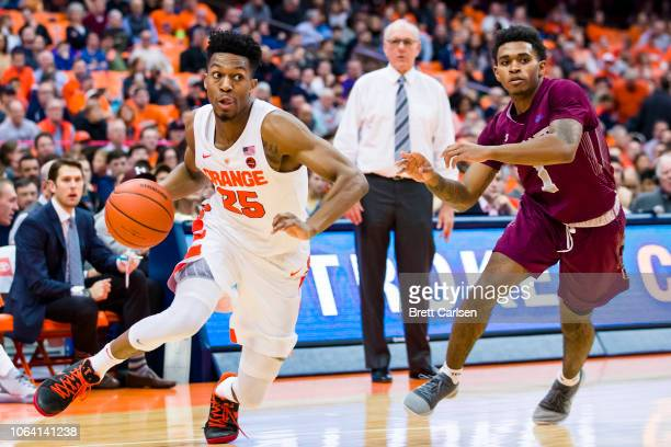 Tyus Battle of the Syracuse Orange drives to the basket during the second half against the Colgate Raiders at the Carrier Dome on November 21 2018 in...