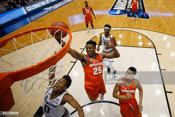 Tyus Battle of the Syracuse Orange drives to the basket in the first half against the Arizona State Sun Devils during the First Four of the 2018 NCAA...
