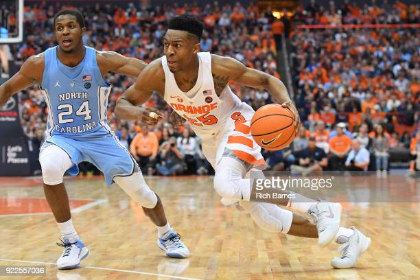 Tyus Battle of the Syracuse Orange drives to the basket past Kenny Williams of the North Carolina Tar Heels during the second half at the Carrier...
