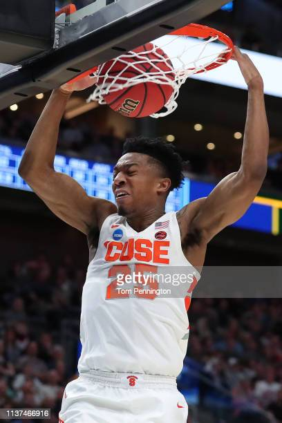 Tyus Battle of the Syracuse Orange dunks against the Baylor Bears during the second half in the first round of the 2019 NCAA Men's Basketball...