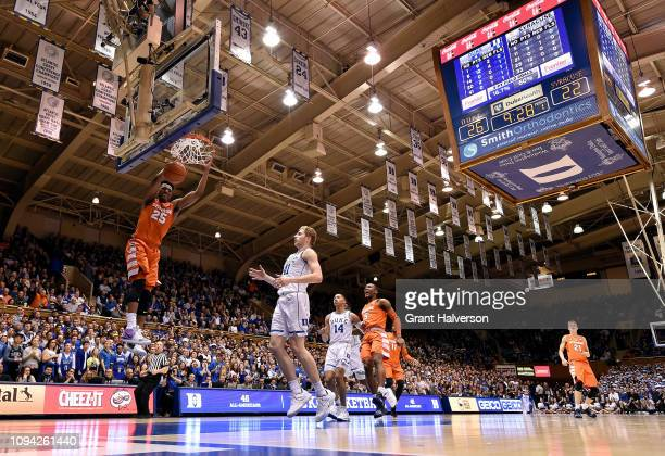 Tyus Battle of the Syracuse Orange dunks against the Duke Blue Devils during the first half of their game at Cameron Indoor Stadium on January 14...