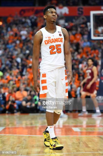 Tyus Battle of the Syracuse Orange looks on against the Boston College Eagles during the second half at the Carrier Dome on January 24 2018 in...