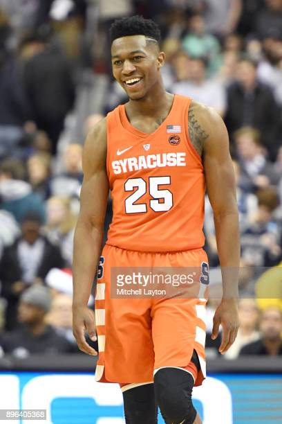 Tyus Battle of the Syracuse Orange looks on during a college basketball game against the Georgetown Hoyas at Capitol One Arena on December 16 2017 in...