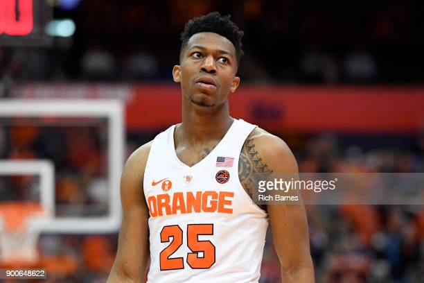 Tyus Battle of the Syracuse Orange looks on prior to the start of the second half of the game against the Virginia Tech Hokies at the Carrier Dome on...