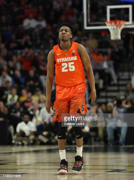 Tyus Battle of the Syracuse Orange reacts after a play against the Wake Forest Demon Deacons during their game at LJVM Coliseum Complex on March 02...