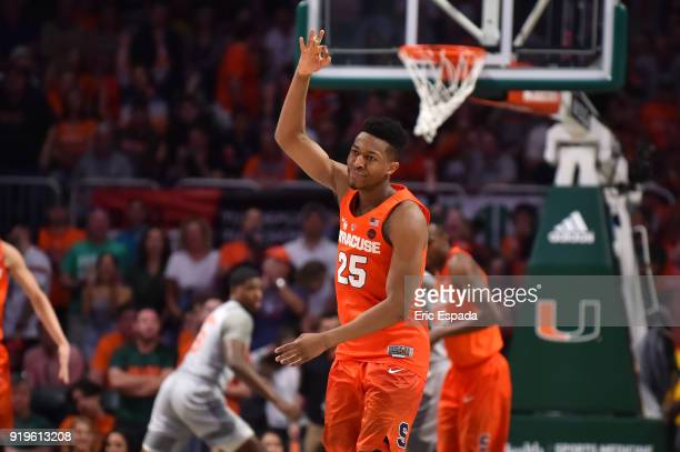 Tyus Battle of the Syracuse Orange reacts after hitting a three point shot during the second half against the Miami Hurricanes at The Watsco Center...