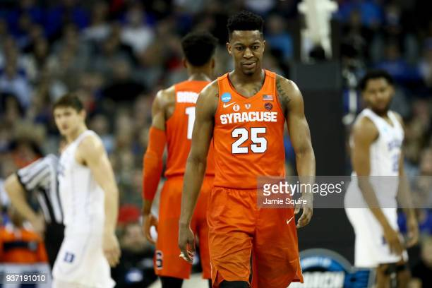 Tyus Battle of the Syracuse Orange reacts against the Duke Blue Devils during the second half in the 2018 NCAA Men's Basketball Tournament Midwest...