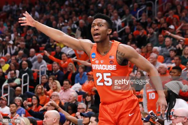 Tyus Battle of the Syracuse Orange reacts during the first half against the Michigan State Spartans in the second round of the 2018 NCAA Men's...