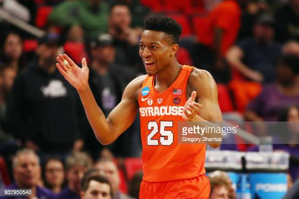 Tyus Battle of the Syracuse Orange reacts during the second half against the TCU Horned Frogs in the first round of the 2018 NCAA Men's Basketball...