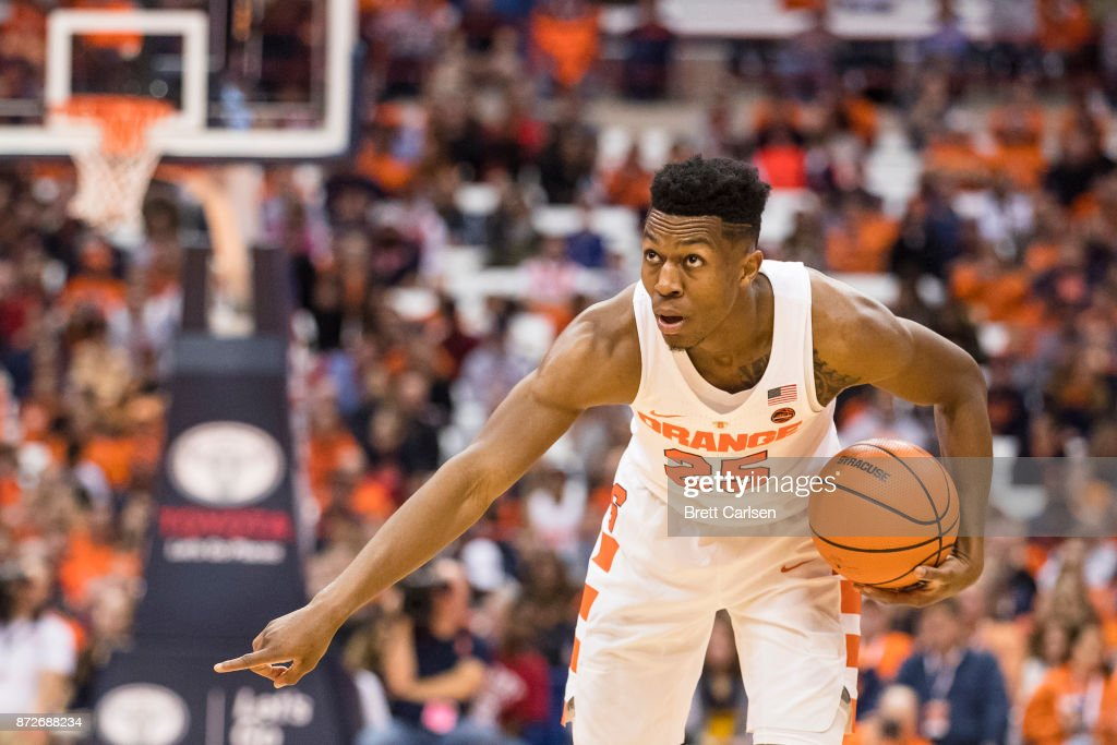Tyus Battle #25 of the Syracuse Orange sets the play during the second half against the Cornell Big Red at the Carrier Dome on November 10, 2017 in Syracuse, New York. Syracuse defeats Cornell 77-45.