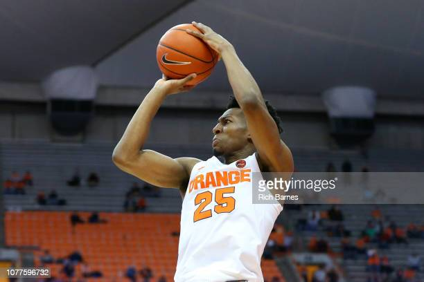 Tyus Battle of the Syracuse Orange shoots the ball against the Northeastern Huskies during the second half at the Carrier Dome on December 4 2018 in...