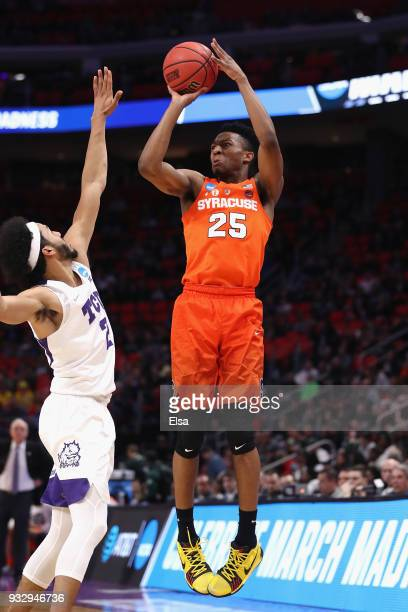Tyus Battle of the Syracuse Orange shoots the ball during the first half against the TCU Horned Frogs in the first round of the 2018 NCAA Men's...