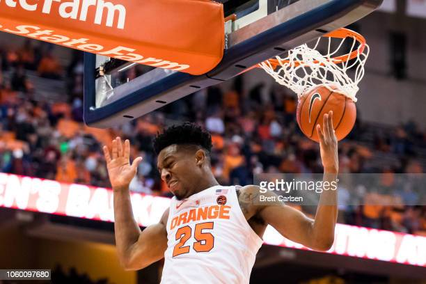 Tyus Battle of the Syracuse Orange slam dunks the ball during the second half against the Morehead State Eagles at the Carrier Dome on November 10...