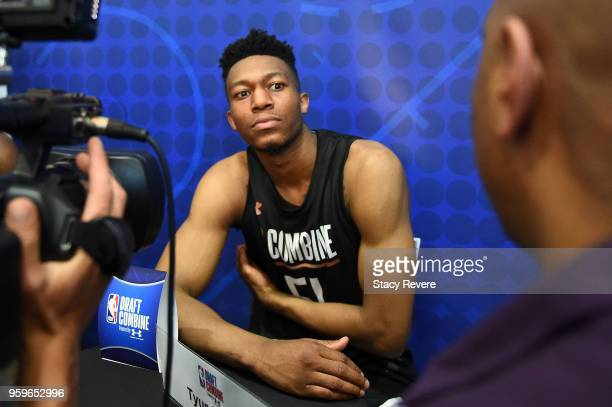 Tyus Battle speaks with reporters during Day One of the NBA Draft Combine at Quest MultiSport Complex on May 17 2018 in Chicago Illinois NOTE TO USER...