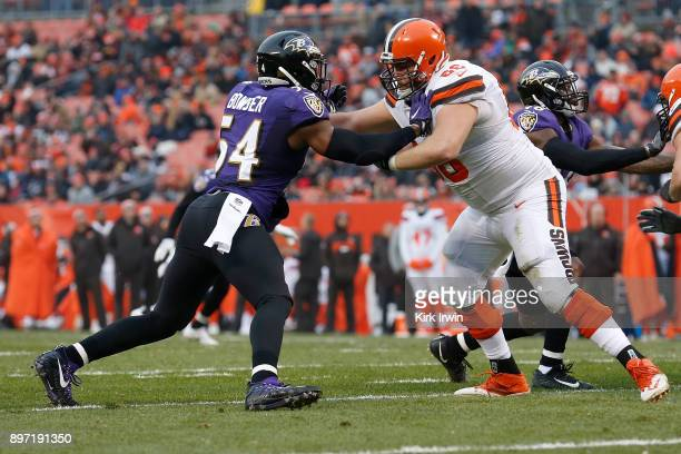 Tyus Bowser of the Baltimore Ravens attempts to rush past Spencer Drango of the Cleveland Browns during the game at FirstEnergy Stadium on December...