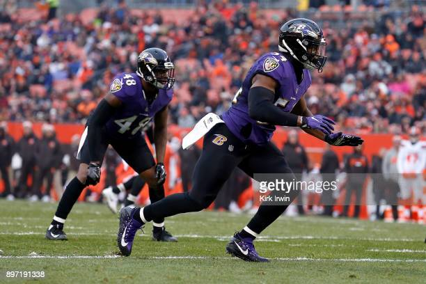 Tyus Bowser of the Baltimore Ravens rushes off of the line of scrimmage during the game against the Cleveland Browns at FirstEnergy Stadium on...
