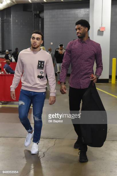 Tyus Jones and Amile Jefferson of the Minnesota Timberwolves arrive before Game Two of Round One of the 2018 NBA Playoffs on April 18 2018 at the...
