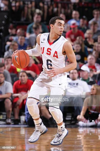 Tyus Jones of Team USA dribbles the ball against the World Team on April 12 2014 at the Moda Center Arena in Portland Oregon NOTE TO USER User...