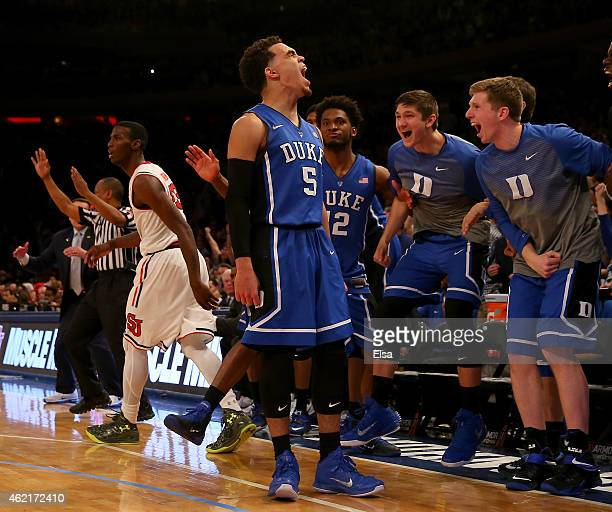 Tyus Jones of the Duke Blue Devils celebrates his three point shot late in the second half against the St John's Red Storm at Madison Square Garden...