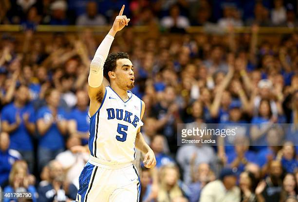 Tyus Jones of the Duke Blue Devils reacts after a shot during their game against the Pittsburgh Panthers at Cameron Indoor Stadium on January 19 2015...