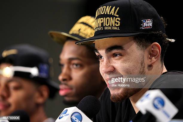 Tyus Jones of the Duke Blue Devils speaks during the post game press conference after defeating the Wisconsin Badgers during the NCAA Men's Final...