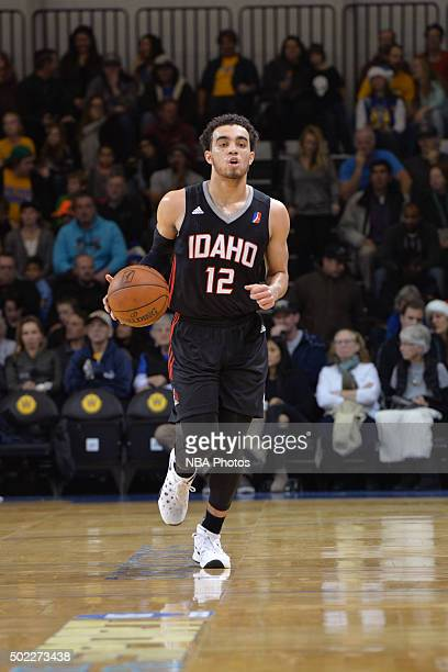 Tyus Jones of the Idaho Stampede dribbles the ball during an NBA DLeague game against the Santa Cruz Warriors on December 19 2015 at the Kaiser...