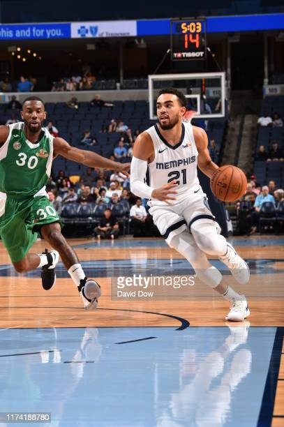 Tyus Jones of the Memphis Grizzlies drives to the basket against the Maccabi Haifa on October 6 2019 at FedExForum in Memphis Tennessee NOTE TO USER...