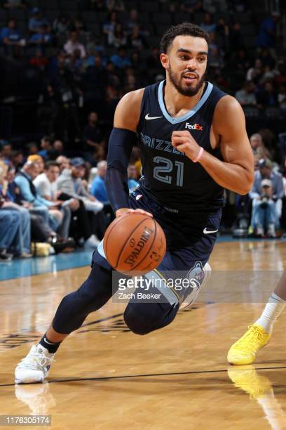 Tyus Jones of the Memphis Grizzlies handles the ball during a preseason game against the Oklahoma City Thunder on October 16 2019 at Chesapeake...