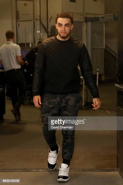 Tyus Jones of the Minnesota Timberwolves arrives at the stadium before the game against the Sacramento Kings on December 14 2017 at Target Center in...