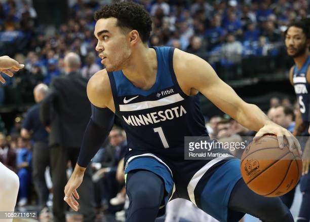 Tyus Jones of the Minnesota Timberwolves at American Airlines Center on October 20 2018 in Dallas Texas NOTE TO USER User expressly acknowledges and...