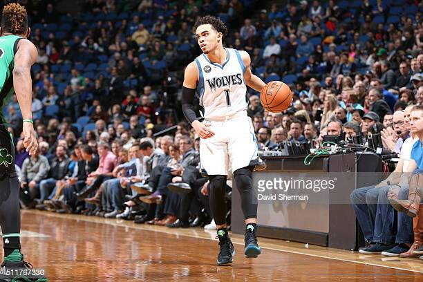 Tyus Jones of the Minnesota Timberwolves dribbles the ball against the Boston Celtics on February 22 2016 at Target Center in Minneapolis Minnesota...