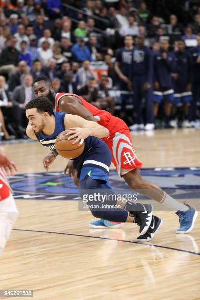 Tyus Jones of the Minnesota Timberwolves drives to the basket against the Houston Rockets in Game Three of Round One of the 2018 NBA Playoffs on...