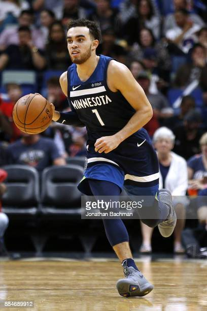 Tyus Jones of the Minnesota Timberwolves drives with the ball during the second half of a game against the New Orleans Pelicans at the Smoothie King...