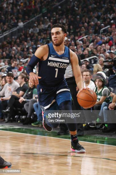 Tyus Jones of the Minnesota Timberwolves handles the ball against the Milwaukee Bucks on February 23 2019 at the Fiserv Forum Center in Milwaukee...