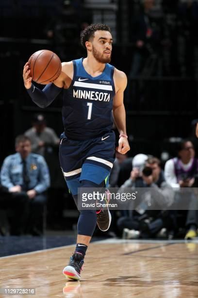 Tyus Jones of the Minnesota Timberwolves handles the ball against the New York Knicks on March 10 2019 at Target Center in Minneapolis Minnesota NOTE...