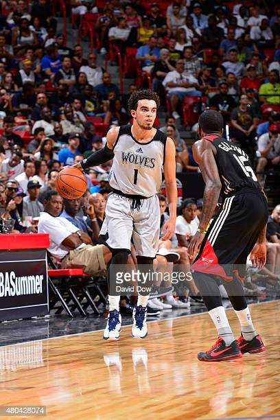 Tyus Jones of the Minnesota Timberwolves handles the ball against the Chicago Bulls during the 2015 NBA Las Vegas Summer League game on July 11 2015...