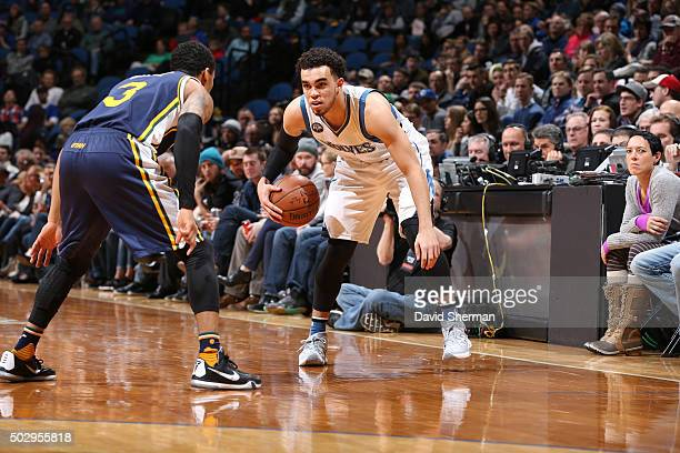 Tyus Jones of the Minnesota Timberwolves handles the ball against the Utah Jazz on December 30 2015 at Target Center in Minneapolis Minnesota NOTE TO...