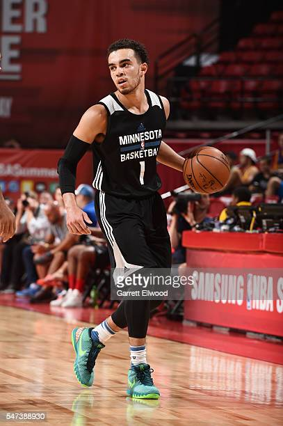 Tyus Jones of the Minnesota Timberwolves handles the ball against the Memphis Grizzlies during the 2016 NBA Las Vegas Summer League game on July 14...