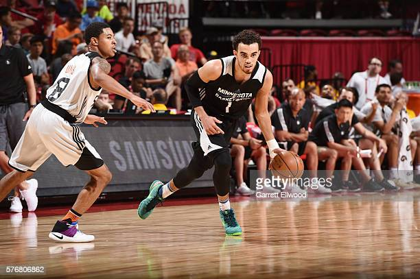 Tyus Jones of the Minnesota Timberwolves handles the ball against the Phoenix Suns during the 2016 NBA Las Vegas Summer League game on July 17 2016...