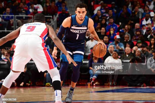 Tyus Jones of the Minnesota Timberwolves handles the ball against the Detroit Pistons on October 25 2017 at Little Caesars Arena in Detroit Michigan...