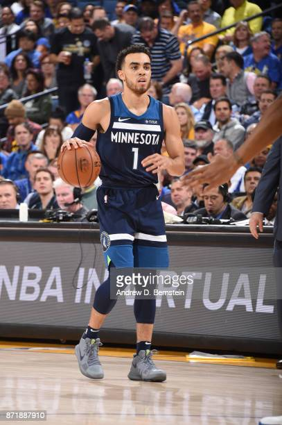 Tyus Jones of the Minnesota Timberwolves handles the ball against the Golden State Warriors on November 8 2017 at ORACLE Arena in Oakland California...