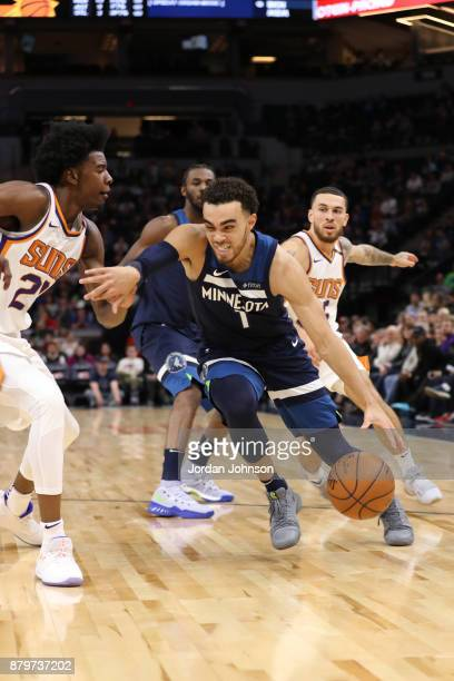 Tyus Jones of the Minnesota Timberwolves handles the ball against the Phoenix Suns on November 26 2017 at Target Center in Minneapolis Minnesota NOTE...