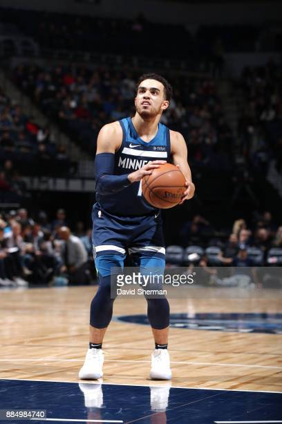 Tyus Jones of the Minnesota Timberwolves handles the ball against the LA Clippers on December 3 2017 at Target Center in Minneapolis Minnesota NOTE...